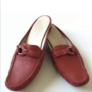 Talbots Slides Shoes 6.5 Red Leather Slip Ons